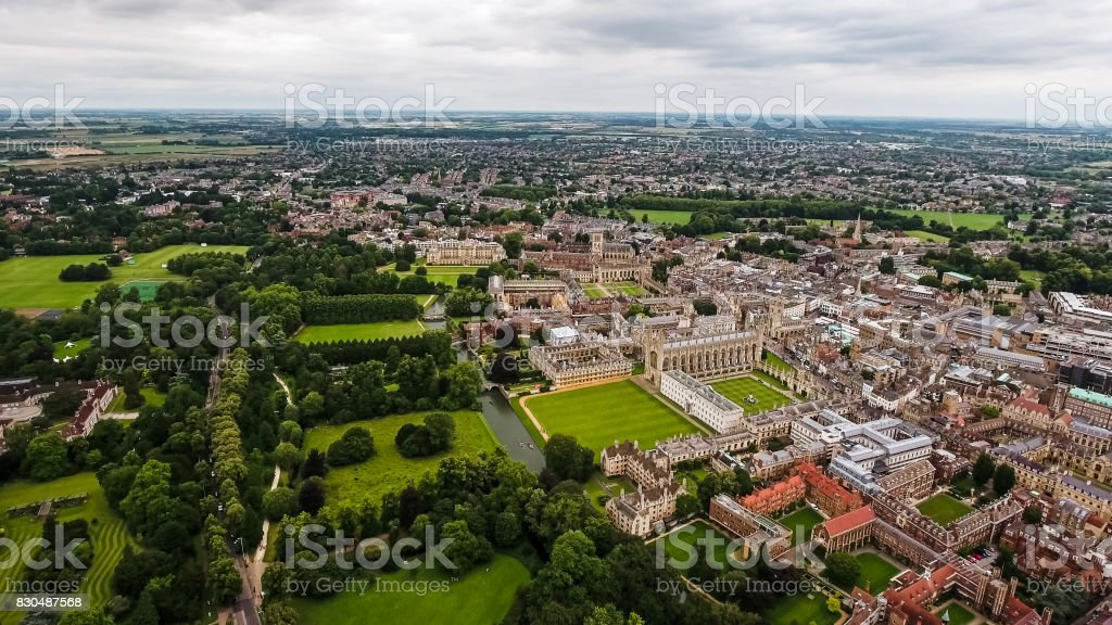 Aerial View Photo Of Cambridge University And Colleges, United Kingdom stock photo