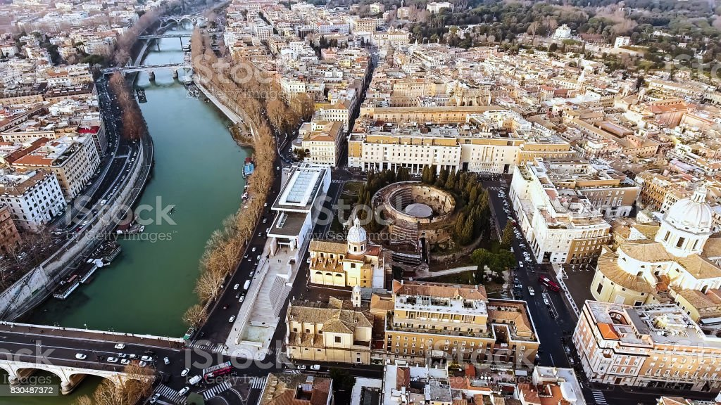 Aerial View Photo of Historic Medieval Rome Cityscape in Italy stock photo