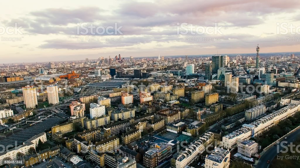Aerial View Photo of London City Landmarks and Residential Urban Area stock photo