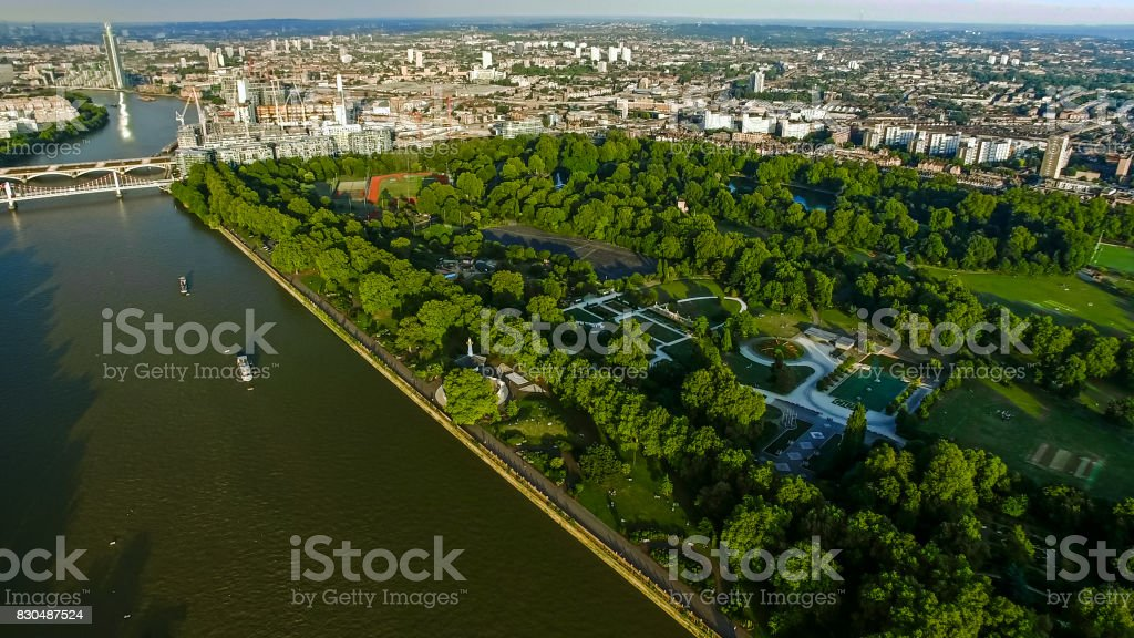 Aerial View Photo of London River and Battersea Park Chelsea Bridge stock photo