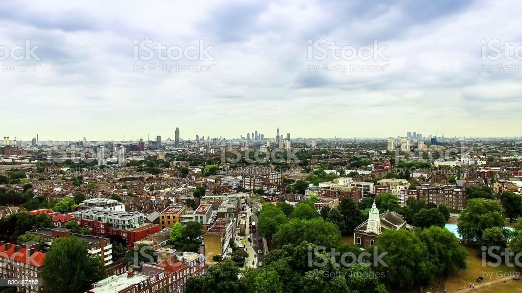 Aerial View Photo of London Urban City around Clapham and Battersea stock photo