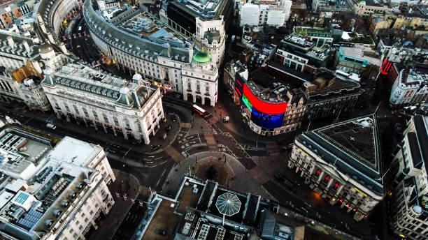 Aerial View Photo of Piccadilly Circus in City Of London England UK Aerial View Image Photo of Piccadilly Circus in London, England. The Famous Landmark Square in Central London feat. New Commercial Signs with Advertising Screen central london stock pictures, royalty-free photos & images