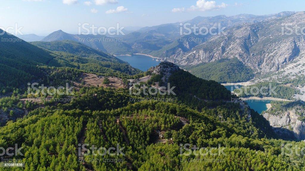 Aerial view photograpy of a oymapınar green canyon stock photo