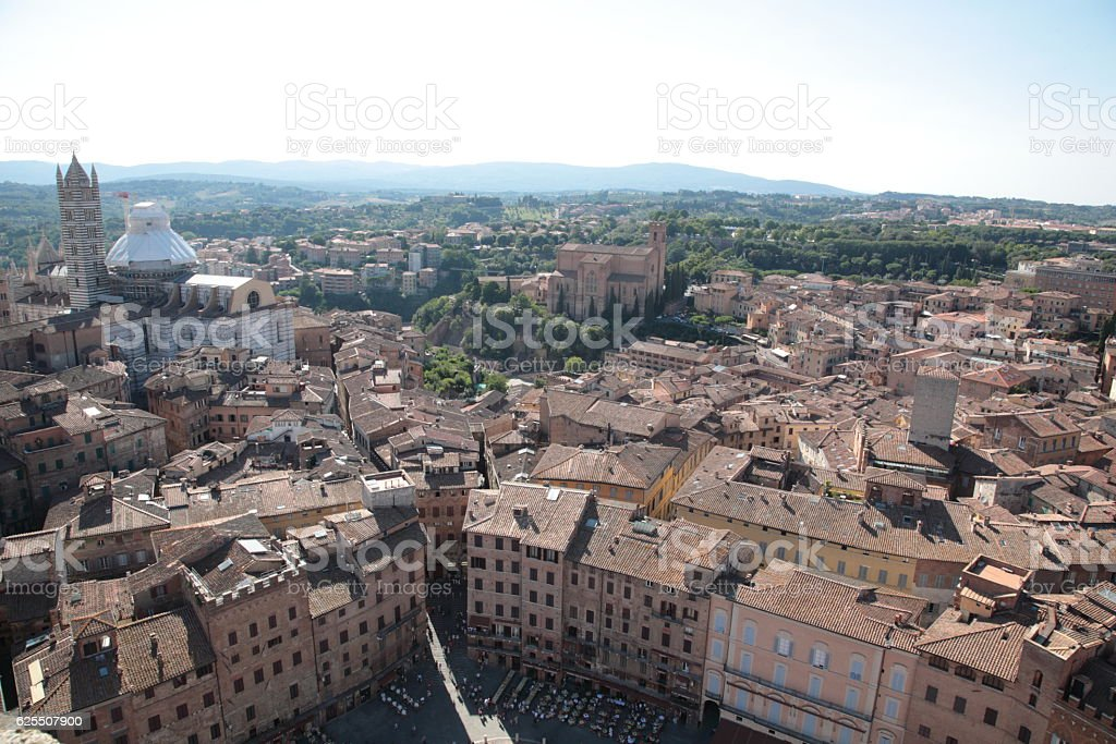 Aerial view Piazza del Campo in Siena, Tuscany, Italy stock photo