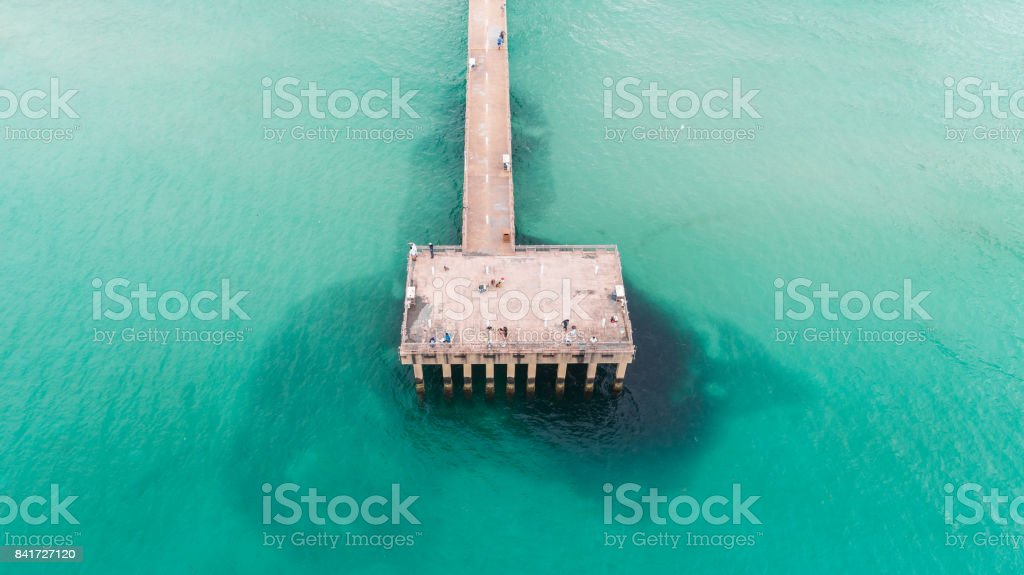 Aerial View Pier Sunny Isles Beach stock photo