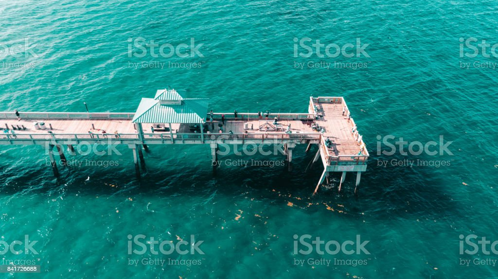 Aerial View Pompano Beach Pier stock photo