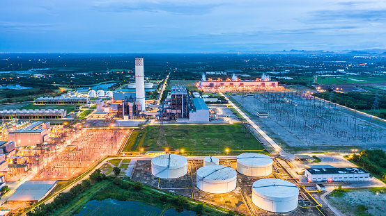 istock Aerial view power plant, Combined cycle power plant electricity generating station industry. 1038549704
