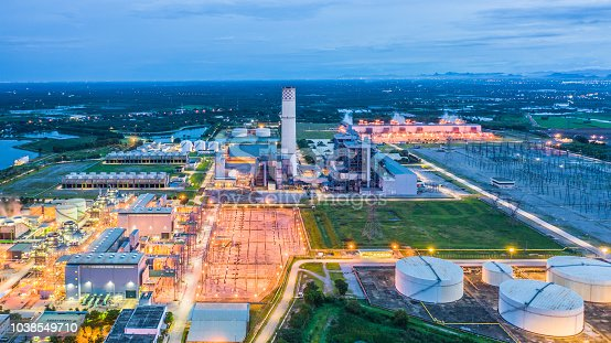 istock Aerial view power plant, Combined cycle power plant electricity generating station industry. 1038549710