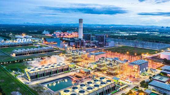 istock Aerial view power plant, Combined cycle power plant electricity generating station industry. 1038549714