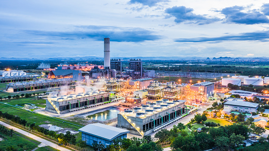 istock Aerial view power plant, Combined cycle power plant electricity generating station industry. 1038549734