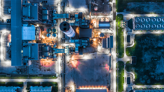 istock Aerial view power plant, Combined cycle power plant electricity generating station industry. 1043558202
