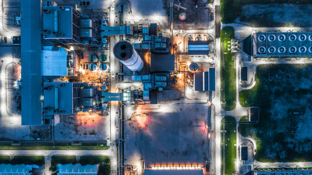 Aerial view power plant, Combined cycle power plant electricity generating station industry. Aerial view power plant, Combined cycle power plant electricity generating station industry. nuclear power station stock pictures, royalty-free photos & images