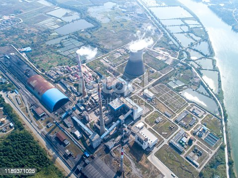 istock Aerial view power plant, Combined cycle power plant electricity generating station industry. 1189371025