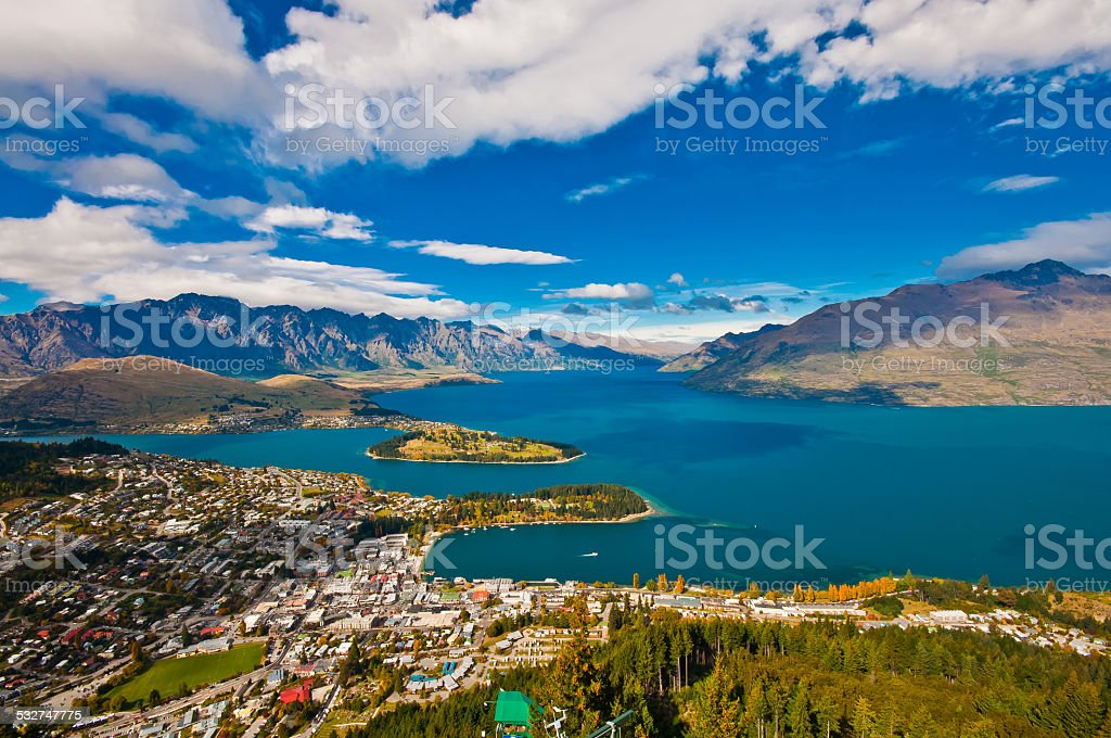 aerial view Queenstown downtown skyscraper, stock photo