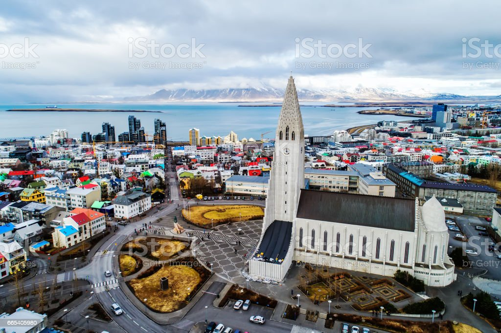 Aerial view Reykjavik Iceland. stock photo
