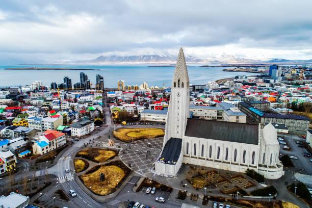 Aerial view Reykjavik Iceland.