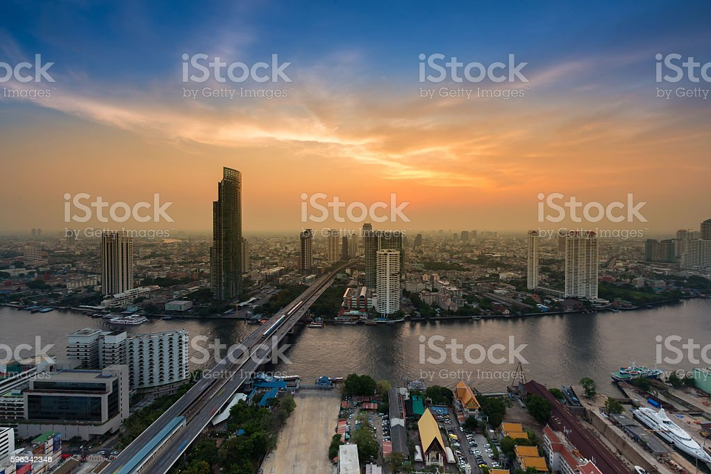 Aerial view river curved in the city with beautiful sunset royalty-free stock photo