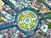 Aerial view Road area Huge roundabout, Wongwian Yai Bangkok, Thailand