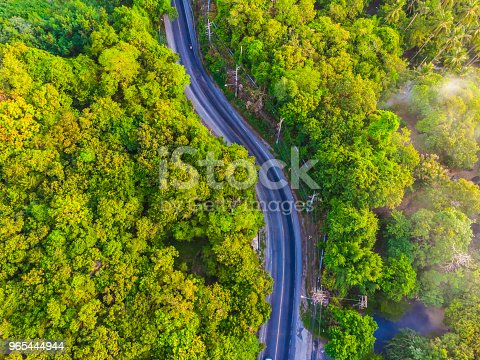 Aerial View Road Side In The Forest Stock Photo & More Pictures of Above