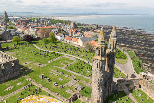 St Andrews, Scotland - May 21, 2018: Aerial view Ruins and graveyard Cathedral of St Andrews, Scotland