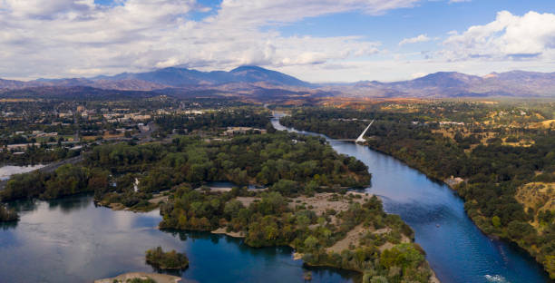 Aerial View Sacramento River Redding California Bully Choop Mountain stock photo