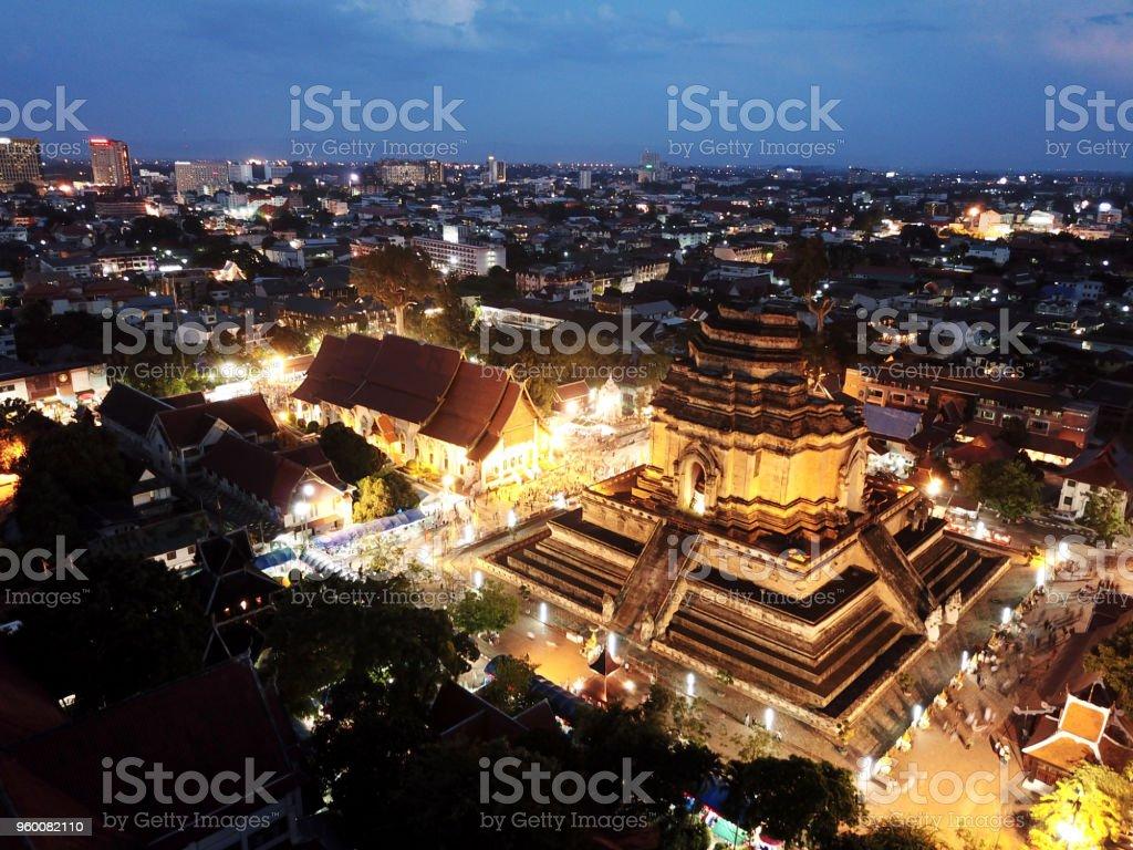 Aerial view Sai Khan Dok tradition at Wat Chedi Luang in Chiang Mai, Thailand. stock photo