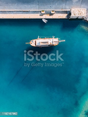 Aerial View Sailing Boat in the Harbor