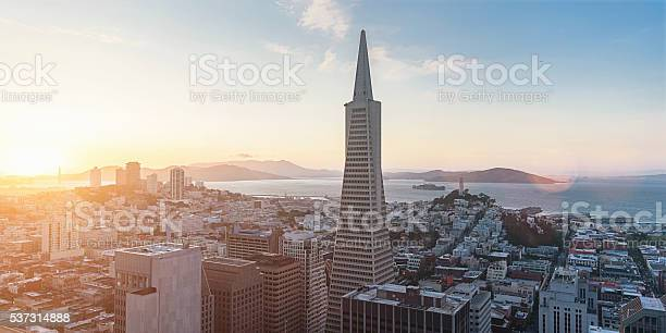 Aerial View San Francisco Skyline Sunset Panorama Stock Photo - Download Image Now
