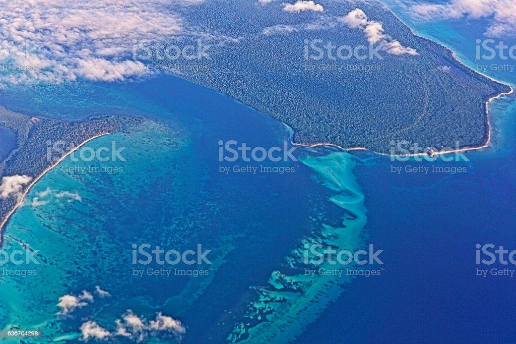 Aerial view: Saona Island turquoise caribbean sea, Dominican Punta Cana stock photo