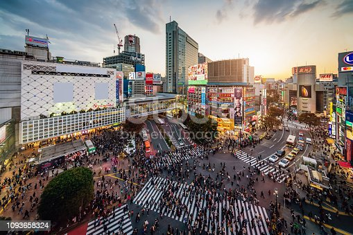 Shibuya Crossing in downtown Tokyo from above, modern Shibuya Buildings with illuminated Billboards. Sunset -Twilight Light. Shibuya Crossing, Shibuya Ward, Tokyo, Honshu, Japan, Asia.