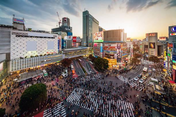 Aerial View Shibuya Crossing Tokyo Japan stock photo