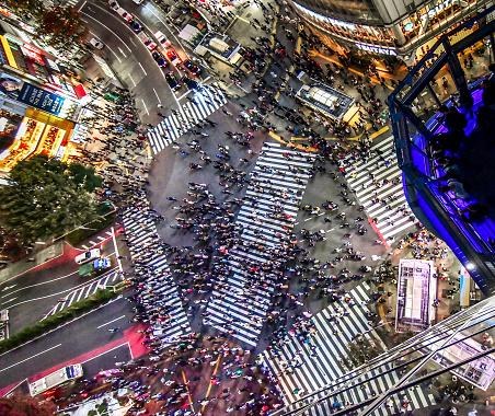 Aerial View Shibuya Crossing Tokyo