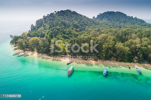 Aerial view shot tropical beautiful beach sea with mangrove forest  in south thailand