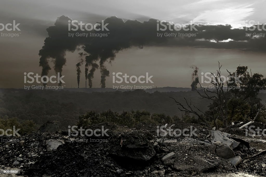 Aerial view showing the pollution going into the air royalty-free stock photo