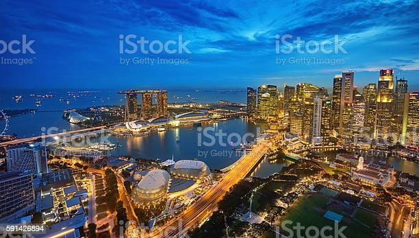 Aerial View Singapore Marina Bay At Dusk Stock Photo - Download Image Now