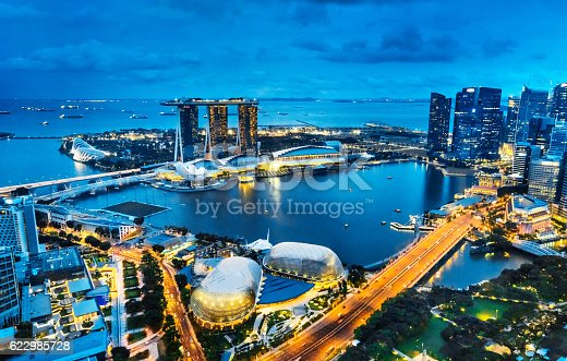 Singapore at night, Aerial view of Marina Bay