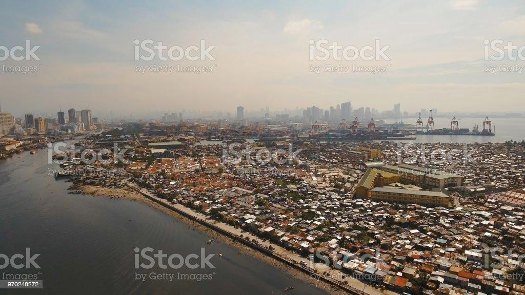 Aerial view slums of Manila, the poor district. Philippines, Manila stock photo