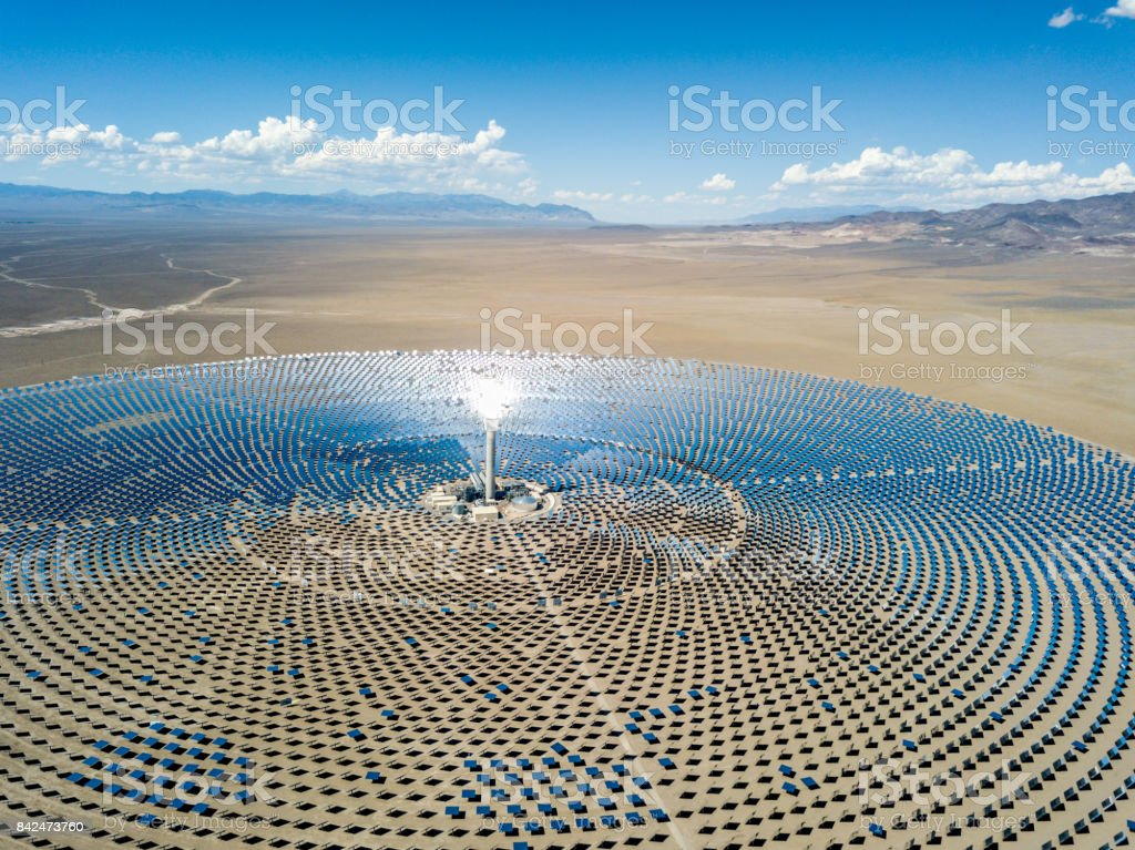 Aerial View Solar Thermal Power Plant Station stock photo