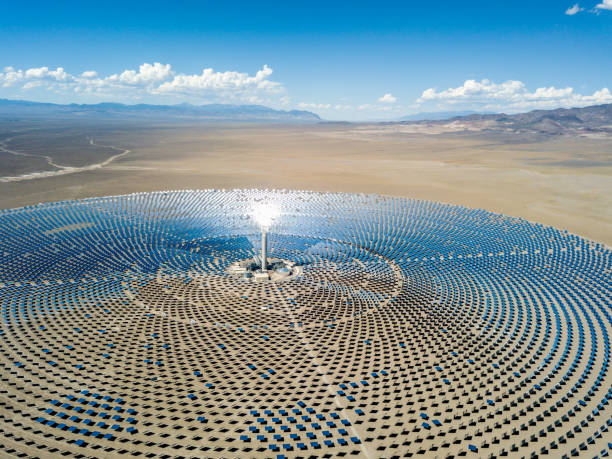 aerial view solar thermal power plant station - climate stock photos and pictures