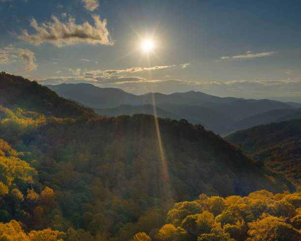 aerial view sunset in pisgah national forest at the Appalachian Mountains stock photo