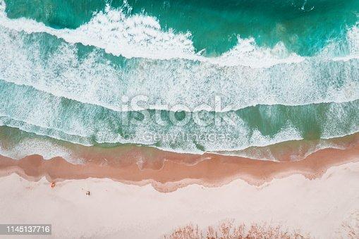Aerial view of Ocean beach, Whangarei Heads, New Zealand.