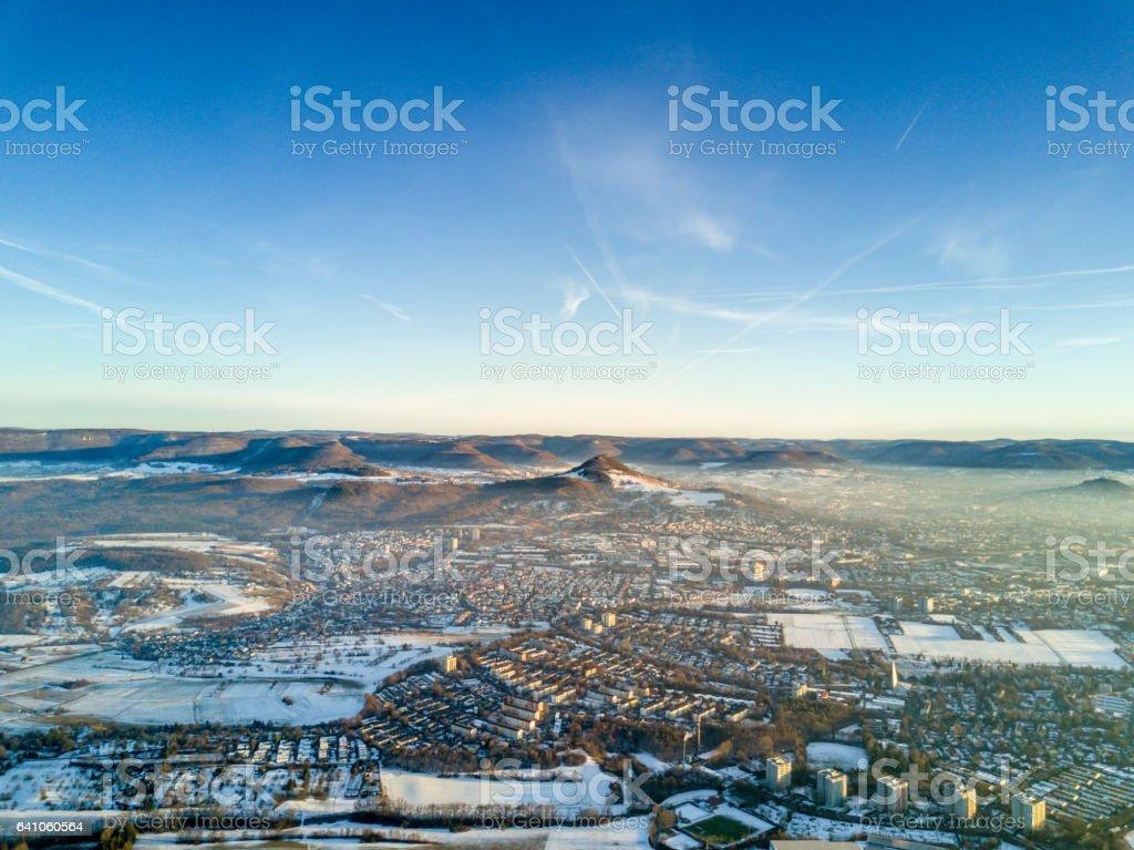 Aerial View Swabian Alb Achalm Reutlingen Stuttgart royalty-free stock photo