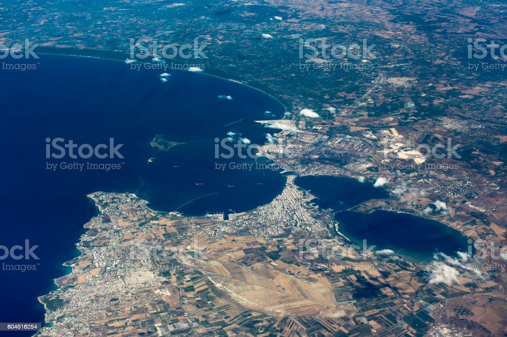 Aerial View Taranto City stock photo