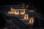 Aerial view of Debod Temple at night, Madrid, Spain