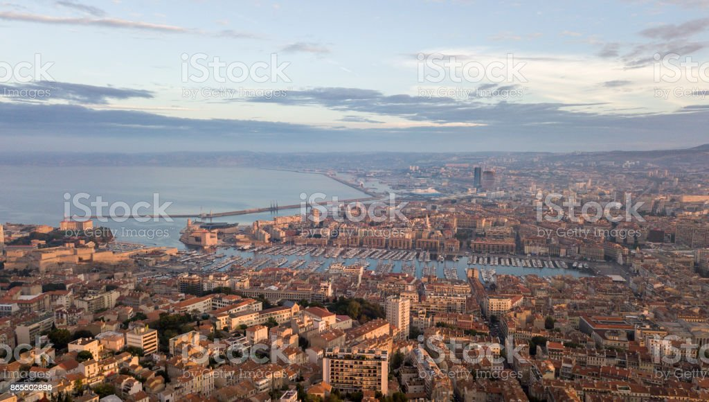 Aerial view the old port of Marseille in the morning stock photo