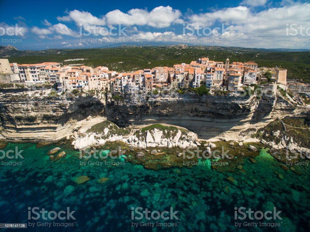 Aerial view the Old Town of Bonifacio stock photo