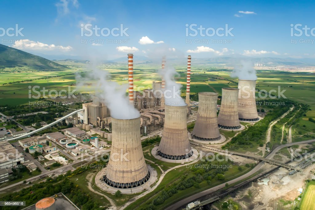 Aerial view the plant producing electrical energy stock photo