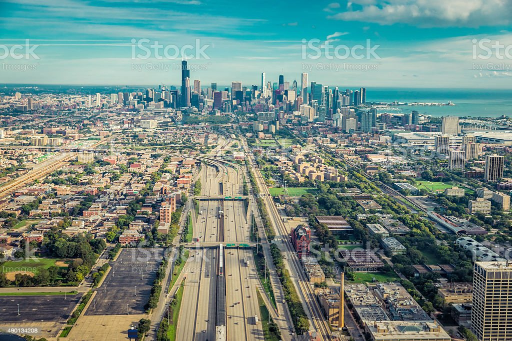 Aerial view through Chicago Downtown with higway stock photo