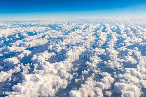 621114928istockphoto Aerial view through the airplane window 1132873063