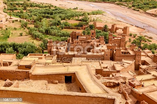 istock Aerial view to Ait Ben Haddou, Morocco. Famous movie locations 1087296510